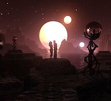 Crimson Moonset by Dreamscenery