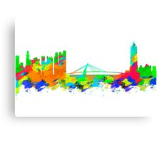 Taiwan Skyline in water colours Canvas Print