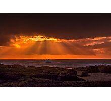 Beautiful sunset beams at Glass Beach Photographic Print