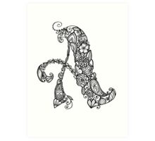 """A"" Flower Alphabet Letter Art Print"