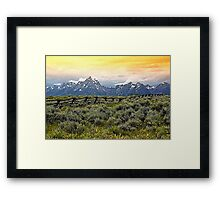 Grand Tetons and a Fence Framed Print
