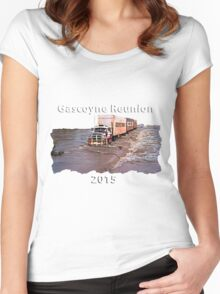 Gascoyne Reunion white writing Women's Fitted Scoop T-Shirt