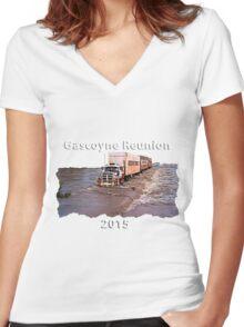 Gascoyne Reunion white writing Women's Fitted V-Neck T-Shirt