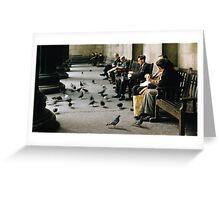 Feeding pigeons British Museum 19570831 0003 Greeting Card