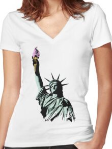 A soft serve of Liberty Women's Fitted V-Neck T-Shirt