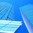 Blue Singapore Buildings by John Violet