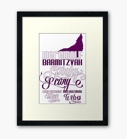 Werewolf Barmitzvah Purple White Framed Print