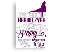 Werewolf Barmitzvah Purple White Canvas Print