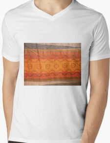 closeup pattern texture of general traditional textile style native from fabric  Mens V-Neck T-Shirt