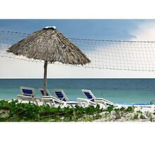Umbrella and chairs on the beach at Cayo Levisa, Cuba Photographic Print