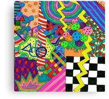 Trippy Neon Shape Design Canvas Print