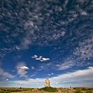 Chimney and Sky - Dalhousie Homestead Ruins - North South Australia by Jeff Catford