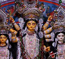 Goddess Durga, Lakshmi and Saraswati by Shubhrajit Chatterjee