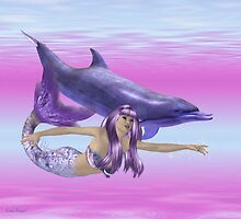 Febuary Mermaid .. swimming with dolphins by LoneAngel