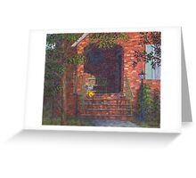 Porch with Green Bench Greeting Card
