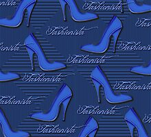 Blue Fashionista Shoe Lovers Pattern by HavenDesign