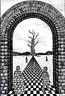 85 - FANTASY LANDSCAPE - 02 - DAVE EDWARDS - PEN & INK - 1984 by BLYTHART
