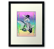 White Koi-Blue Lily  Framed Print