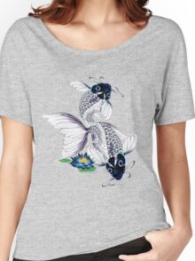 White Koi-Blue Lily  Women's Relaxed Fit T-Shirt