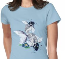 White Koi-Blue Lily  Womens Fitted T-Shirt