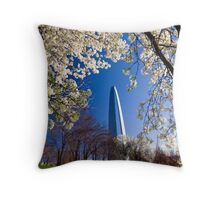 Gateway Arch with the cherry trees bloom. Throw Pillow