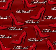 Red Fashionista Shoe Lovers Pattern by HavenDesign