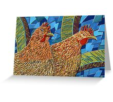 183 - TWO HENS - DAVE EDWARDS - GOUACHE - 2007 Greeting Card