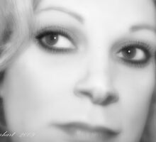 Close Up-Self Portrait Black and White  by Julie Everhart