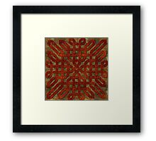 Red Brown Faux Leather Celtic Knot Framed Print