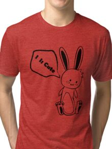Cute Black and White Rabbit Tri-blend T-Shirt