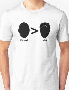 Picard > Kirk (black) Unisex T-Shirt