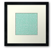 Tiny polka dots in pastel forest green. Framed Print