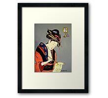 Geisha Writes a Letter Framed Print