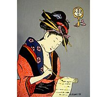 Geisha Writes a Letter Photographic Print