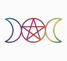 Rainbow Triple Goddess Pentagram One Piece - Short Sleeve