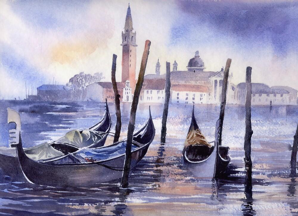 San Giorgio and Gondolas by artbyrachel