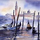 San Giorgio and Gondolas by artbyrachel