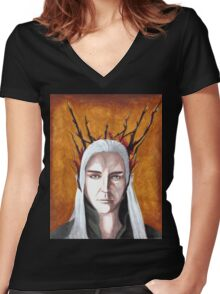 Wood Elf King Women's Fitted V-Neck T-Shirt