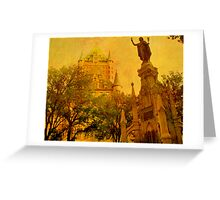 Chateau Frontenac, Quebec City   & Statue    Greeting Card