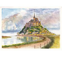 Mont Saint Michel Aquarelle Photographic Print