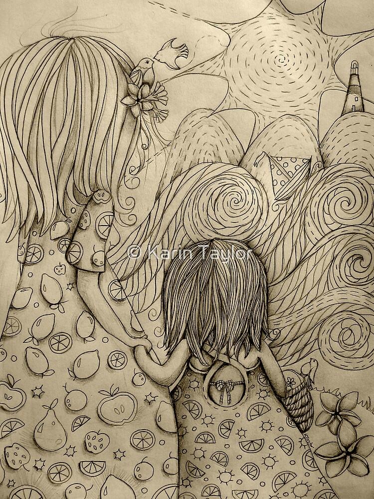 Beach Picnic Drawing by © Karin Taylor