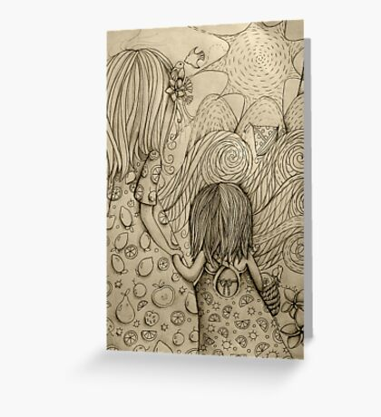 Beach Picnic Drawing Greeting Card