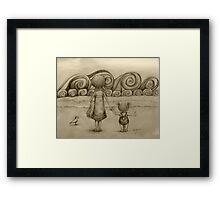Beachcombers drawing Framed Print