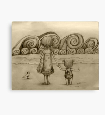 Beachcombers drawing Canvas Print