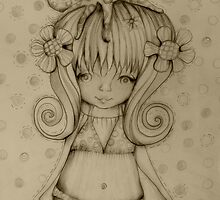 The Girl and The Octopus drawing by © Karin Taylor