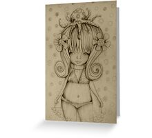 The Girl and The Octopus drawing Greeting Card