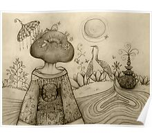 Teapot Topiary drawing Poster