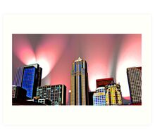 Seattle Skyline with Pink Lights Art Print