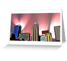 Seattle Skyline with Pink Lights Greeting Card