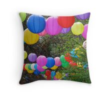 Rainbow Lanterns Throw Pillow